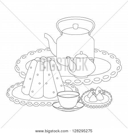 Tea party outline drawing for coloring. Pudding tea cup tea pot kettle and candy.