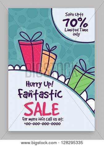 Fantastic Sale Flyer, Sale Banner, Sale Poster, Limited Time Sale, Save upto 70%. Vector illustration.