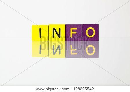 Info - an inscription from children's wooden blocks