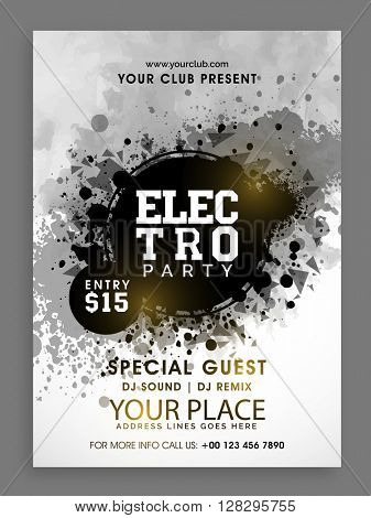 Creative abstract Flyer, Template or Banner design for Electro Musical Party celebration.