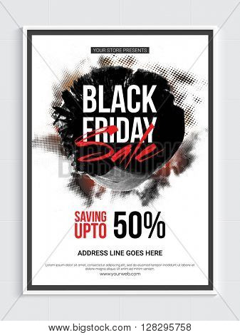 Black Friday, Sale Poster, Sale Banner, Sale Flyer, 50% Discount, Vector illustration.