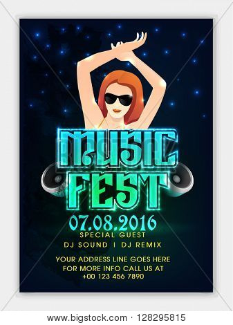 Music Fest Flyer, Musical Party Template, Night Party Banner or Club Invitation design with illustration of a beautiful young dancing girl on shiny background.