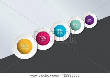 Five element connected to circle banner, timeline, template, chart, infographic, step by step number option, layout. 3D cyrcle style.