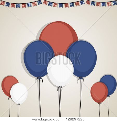 Flying Balloons in American Flag colors for 4th of July, Independence Day celebration concept.