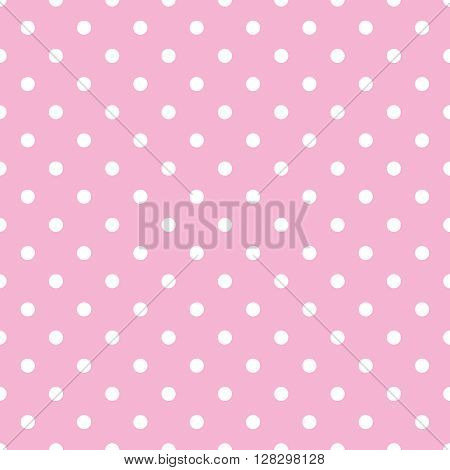 Seamless vector pattern with white polka dots on tile pastel pink background