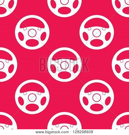 Seamless pattern with vehicle steering wheels. Car steering wheels on red background. EPS8 vector illustration includes Pattern Swatch.