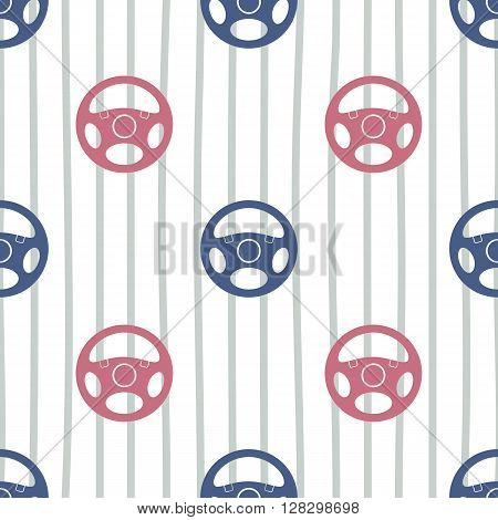 Seamless pattern with vehicle steering wheels. Car steering wheels and vertical lines on white background. EPS8 vector illustration includes Pattern Swatch.