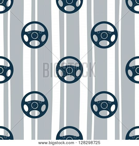 Seamless pattern with vehicle steering wheels. Car steering wheels and vertical stripes on white background. EPS8 vector illustration includes Pattern Swatch.
