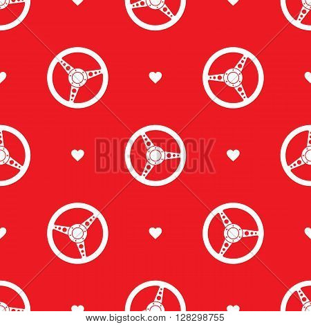 Seamless pattern with sport car steering wheels. Vehicle steering wheels and hearts on red background. EPS8 vector illustration includes Pattern Swatch.