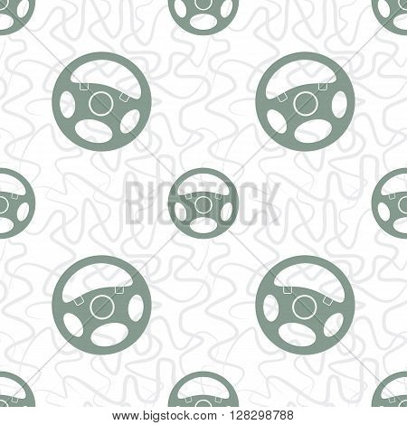 Seamless pattern with automobile steering wheels. Vehicle steering wheels and tangled lines on white background. EPS8 vector illustration includes Pattern Swatch.