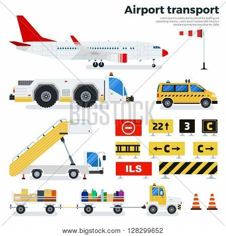 Airport transport vector flat illustrations. Different types of transport working on the airfield. Cargoes, luggage cars, taxi, ladder and road signs isolated on white background