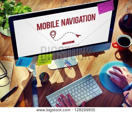 Mobile Navigation Direction Digital Gadget Internet Concept