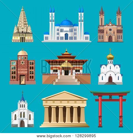 Cathedrals, churches and mosques building set. Collection of temple buildings and architecture. Places of interest of different countries. Islam, buddhist, hindu and christian religion.