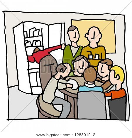 An image of a employees in a crowded break room.