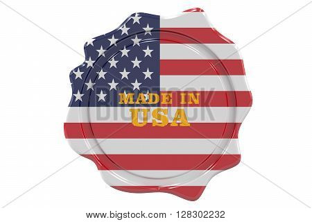 made in USA seal stamp. 3D rendering
