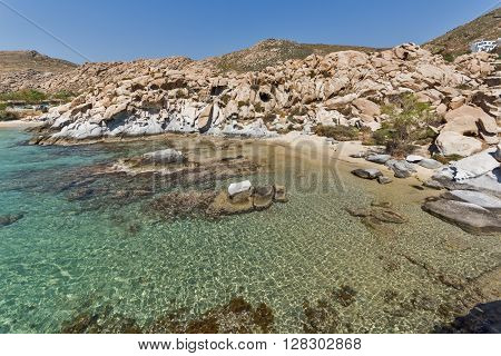 Blue Waters and  rock formations of kolymbithres beach, Paros island, Cyclades, Greece