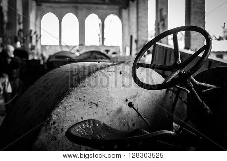 Aged tractor in a old abandoned farm