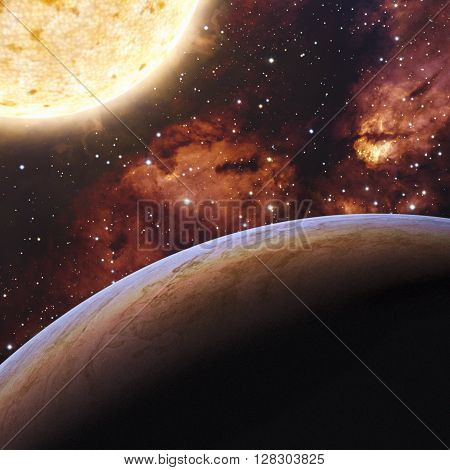 View of fantasy Alien Exo Planet 3d rendering