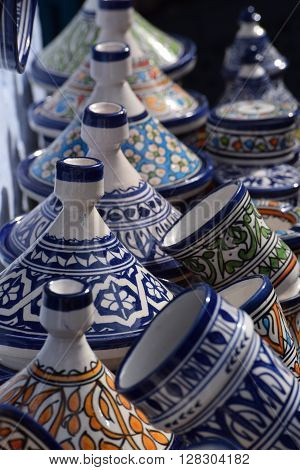 Moroccan Pottery, Chefchaouen Medina, Tangines and cups