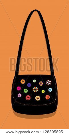 Vector illustration of a black crafty shoulder bag decorated with beautiful colorful buttons. Vertical format. Terracotta background.