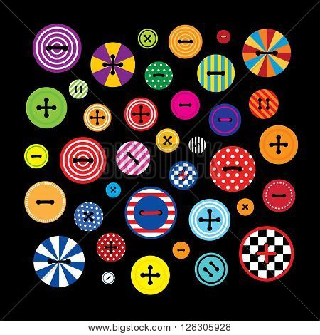 Set of a vector colorful clothing buttons. Composition on a black background. Square format.