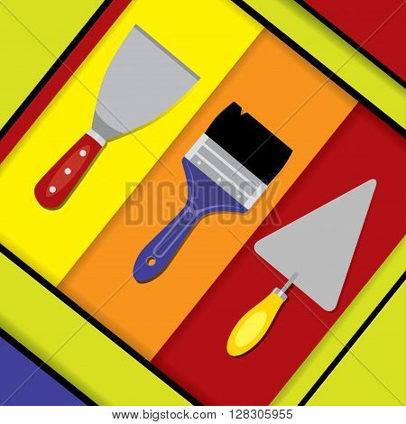 Vector illustration of a putty knife, paint brush, and pointing trowel. Hand tools for building, plastering and painting on a colorful abstract background. Material design. Square format.