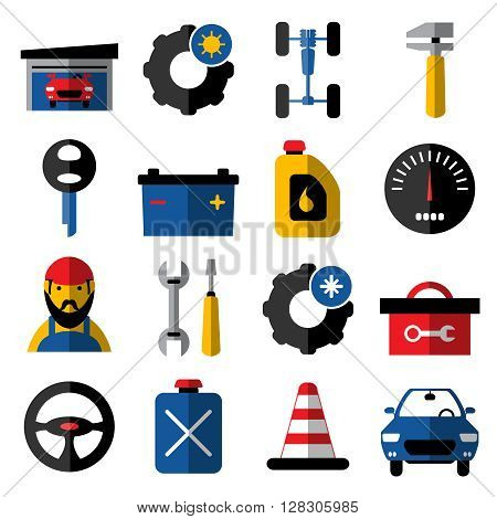 Car service flat icons set with mechanic summer and winter tires chassis steering wheel isolated vector illustration