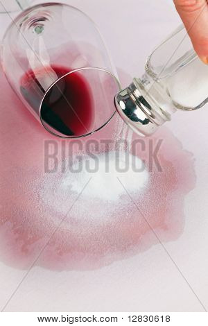 Vice empty glass of red wine. Salt.