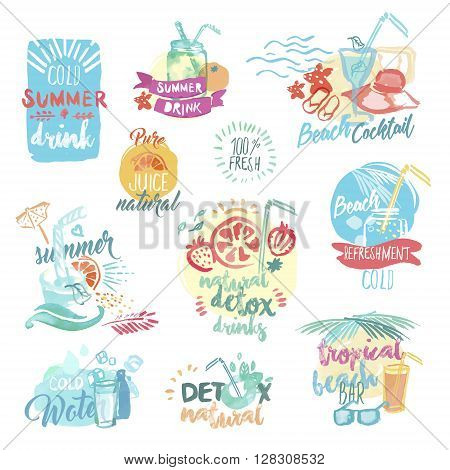 Set of hand drawn watercolor labels and badges of fresh fruit juice and drinks. Vector illustrations for menu, food and drink, restaurant and bar, summer refreshment, cocktail bar, organic fruit, summer holiday.