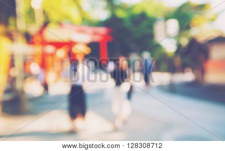 Abstract Blurred Tourists Visit Fushimi Inari Shrine In Japan