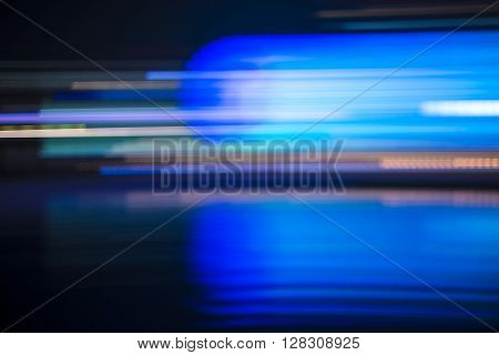 Abstract Blurred Blue Streaked City Lights Background