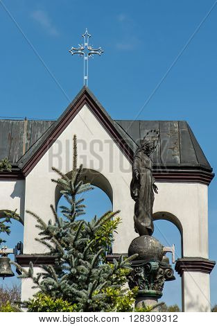 Statue of Virgin Mary in front of the sanctuary in Lesniow near Czestochowa in Poland