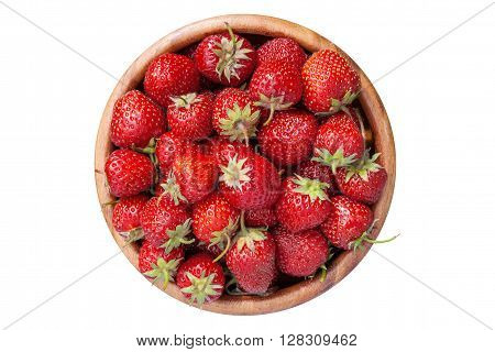 Strawberries In Wooden Bowl, Isolated On White, Top View.