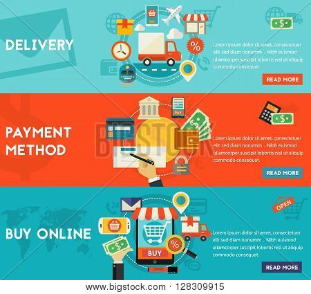 Payment Methods, Online Shopping and Delivery concept banners.  Flat style vector illustration online web banners