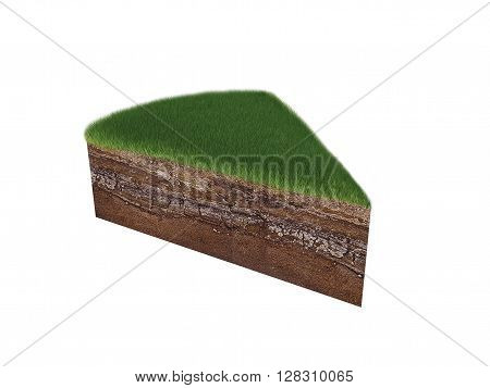 The earth and grass on a white background. 3D illustration, 3D render