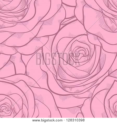 beautiful seamless pattern in pink roses with contours. Hand-drawn contour lines and strokes. Perfect for background greeting cards and invitations to the day of the wedding birthday Valentine's Day