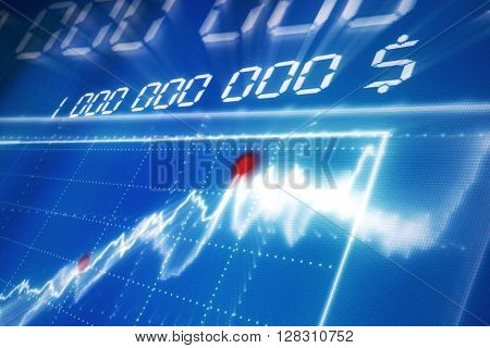Abstract financial data graph on a monitor screen