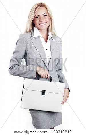 Business woman in gray suit with briefcase isolated on white