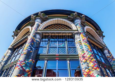 The Hague Netherlands - April 21 2016: ceiling of a historical building that houses a Sting store in The Hague. The Sting is a popular shop that join different labels under one roof