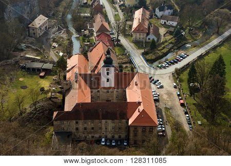 Monastery in village Svaty Jan pod Skalou in spring time