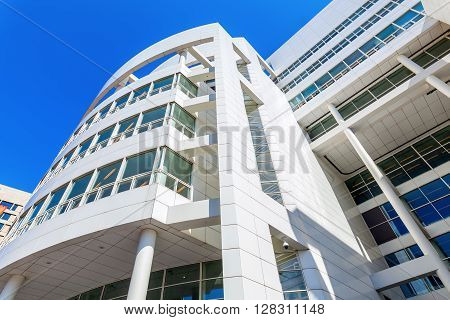 The Hague Netherlands - April 21 2016: New City Hall of The Hague. It was designed in 1986 by American architect Richard Meier and completed in 1995