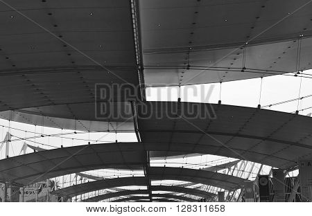 MILAN, ITALY - JUNE 29 2015: Architectural close up of Decumano roofinf at Expo 2015 in Milan Italy
