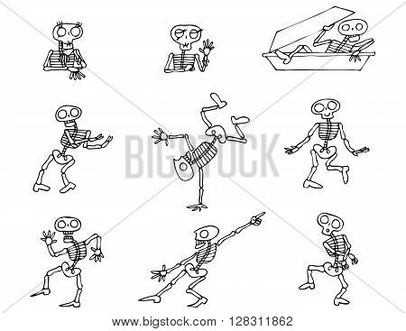 Halloween Skeletons vector pack. Collection of cartoon vector graphic elements with Halloween motives.