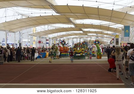 MILAN, ITALY - JUNE 29 2015: Foody daily Parade at Expo 2015 Universal exhibition on the theme of food held in Italy from May to October 2015