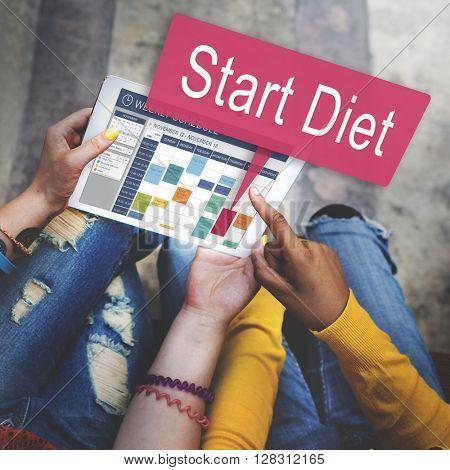 Start Diet Healthy Planning Schedule Concept