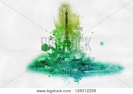 Symbolic celebration or souvenir graphic with Eiffel tower in France portrayed in splattered green paint over gray background