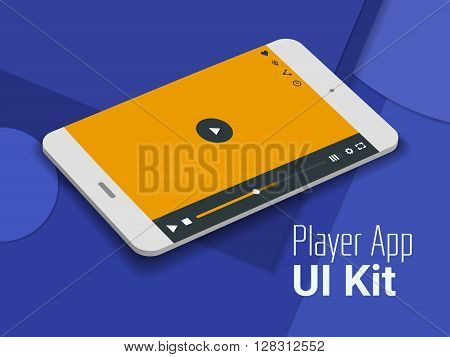 3d isometric material design player app mobile UI mock up, on trendy material background