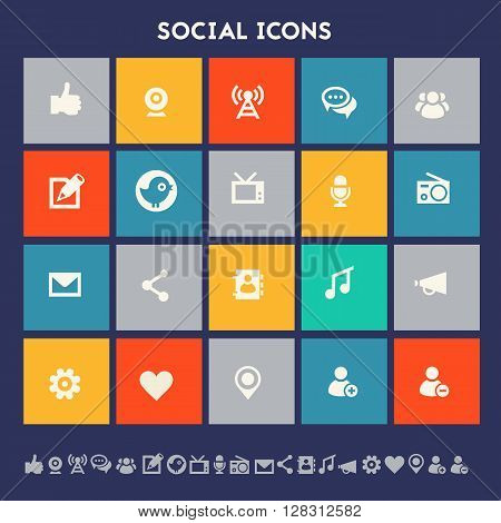 Modern flat design multicolored social icons collection