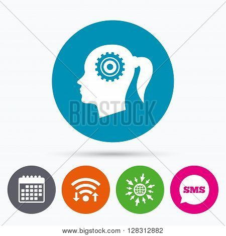 Wifi, Sms and calendar icons. Head with gear sign icon. Female woman human head think symbol. Go to web globe.
