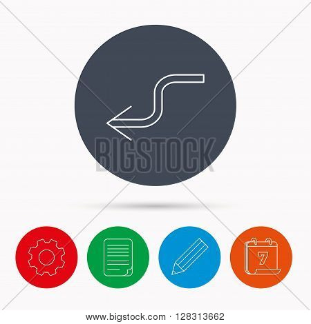Arrow back icon. Previous sign. Left direction symbol. Calendar, cogwheel, document file and pencil icons.